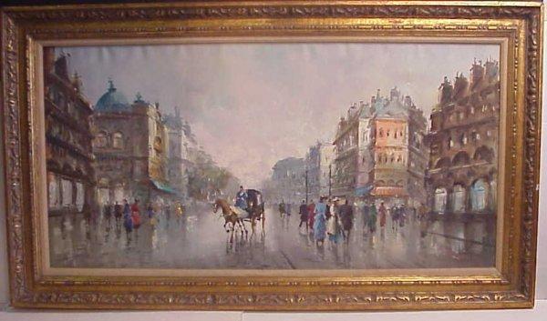 1027: Antonio Devity (1901-Italy) Paris street scene,
