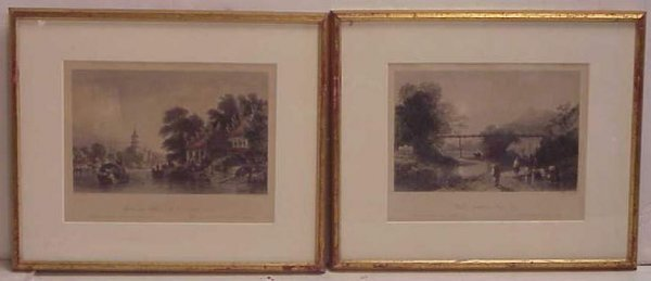 1029: Two Chinese hand colored engravings of river  lan