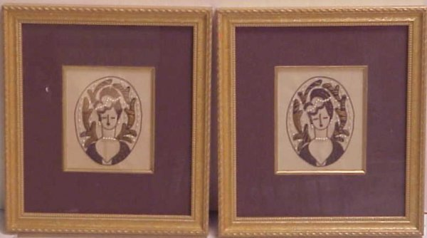 1001: Pr Deco style frosted glass lamps with figures in