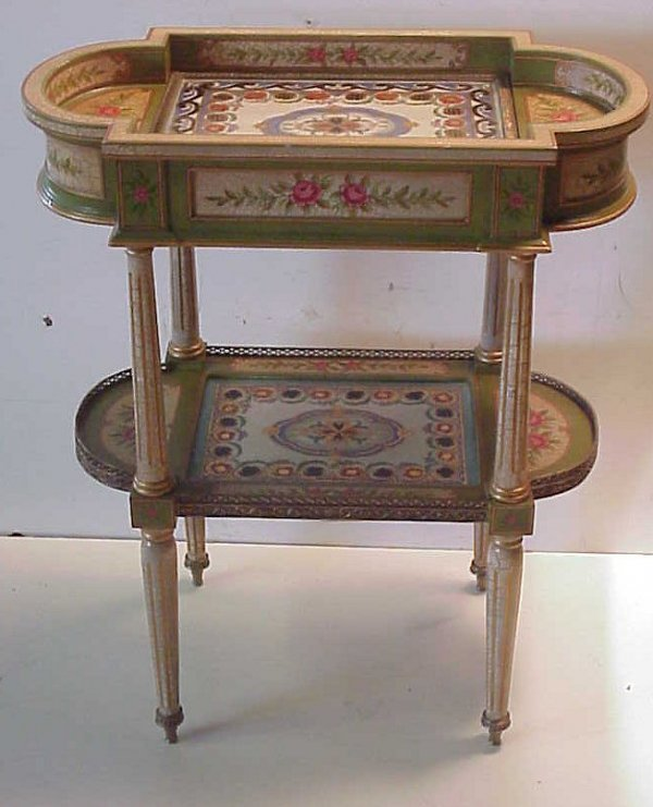 1018A: Louis XVI style floral painted two tier oval tab