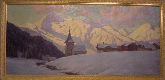 2197: Franz Holper (20th C, Germany) Alpine village  sc