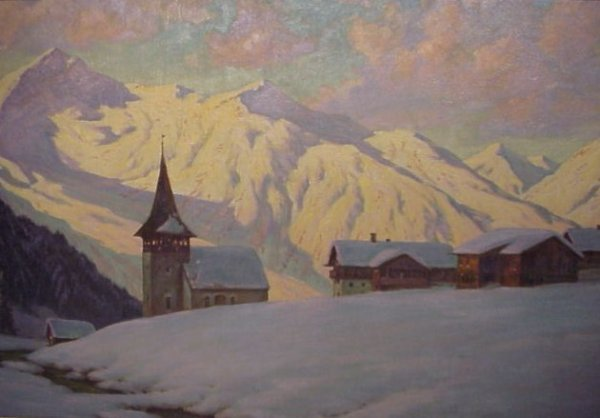 2197: Franz Holper (20th C, Germany) Alpine village  sc - 2