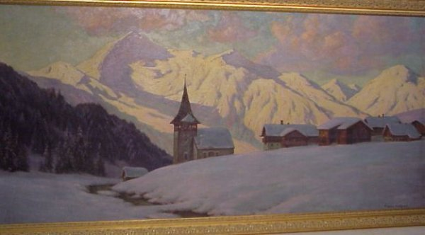 2197: Franz Holper (20th C, Germany) Alpine village  sc - 4