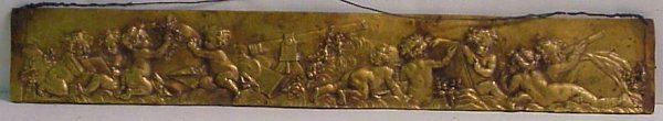 "2006: Bronze frieze with cherubs in relief, 3 1/2"" x 22"