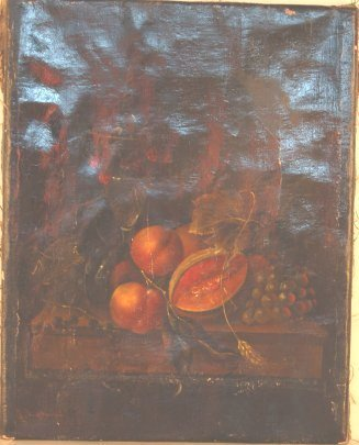 2014: 19th C fruit still life, oil on canvas, signed A.