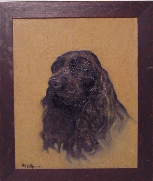 2004: Portrait of a Spaniel, oil on board, signed D.  G