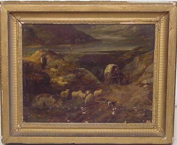 2018: Landscape With Sheep, Shepherds & Covered Wagon,