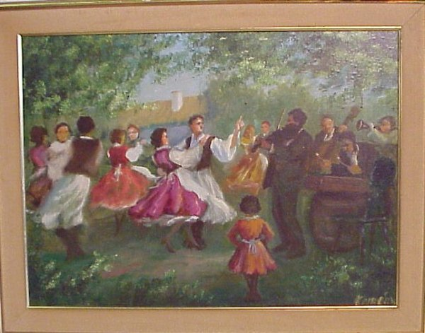2010: Hungarian Folk dance scene signed Kermean, oil on