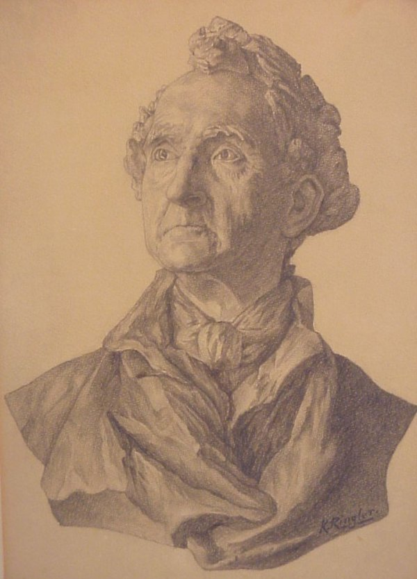 2003A: 19thc Bust of a man, charcoal on paper on  cardb