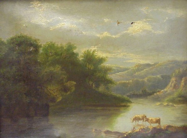 2021: 19/20th C landscape with cows, oil on canvas,  un