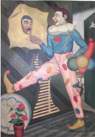 2002: Magical Realism Sarcastic Clown, oil on canvas, 4