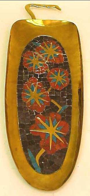 3008: Salvador Teran cut glass mosaic tile and brass  l