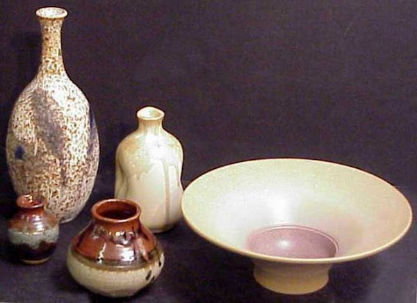 """3022: 4 pottery vases and a bowl, tallest 11"""", smallest"""