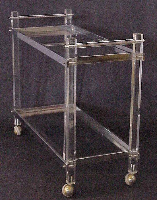 3010: Acrylic and chrome modern two tier drink cart,  3