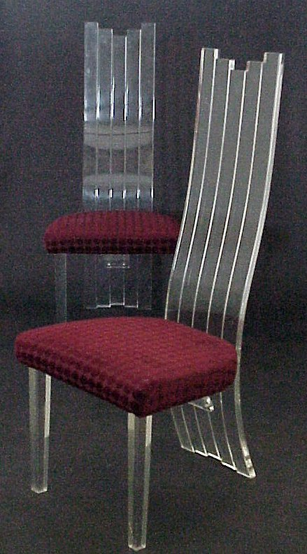 3015: 1980s pair of acrylic high back chairs, Hill  Man