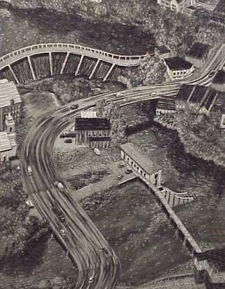 3011: Yvonne Jacquette (1934-USA) Highway landscape,  b