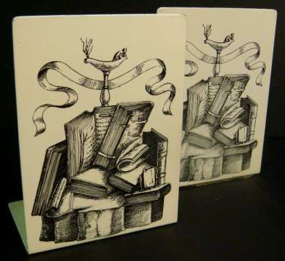 3013: Fornasetti / Italy pr of bookends with stacked  b