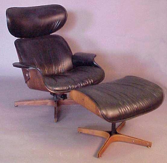 "3390: Plycraft  "" Mr. Chair "" Lounge & ottoman, walnut"