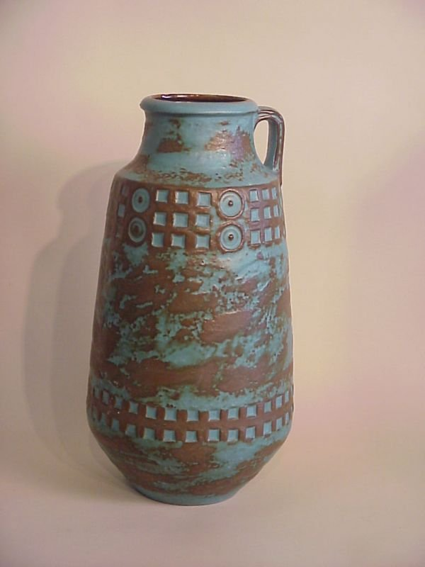 3007: West Germany art pottery floor vase, signed on un