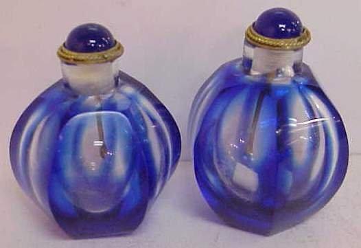 1002: PAIR PERFUME BOTTLES COBALT BLUE PEKING GLASS, 2
