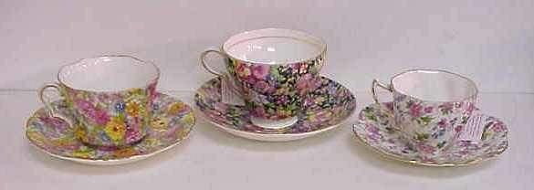 1008: THREE CHINTZWARE CUPS AND SAUCERS: TWO BY ROSINA
