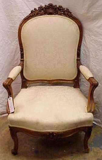 1015: EARLY 20THC FRENCH STYLE ARM CHAIR, HEAVILY CARVE