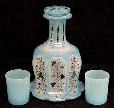 VICTORIAN CUT TO CLEAR LIGHT BLUE DECANTER WITH