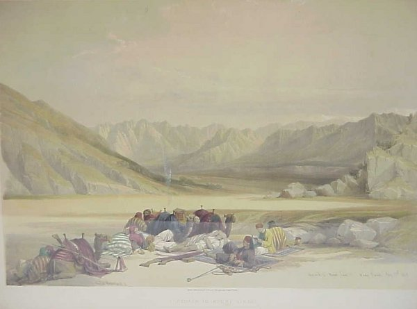 "32: 1845 ""Approach to Mount Sinai"" colored engraving,"