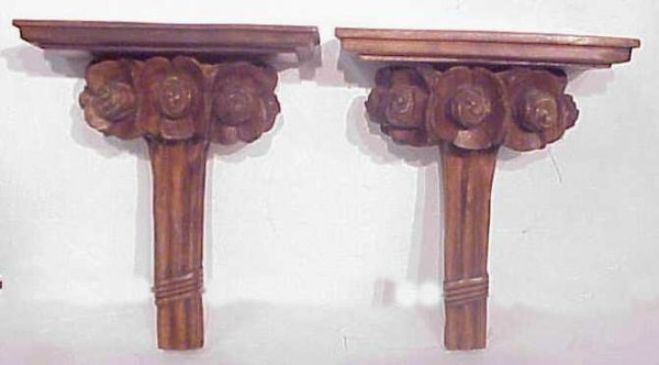 4: Pair of wall shelf brackets carved with roses, 14""