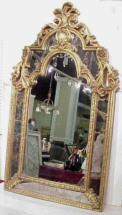 "6: French style composite mirror, smoked panels, 54""  x"