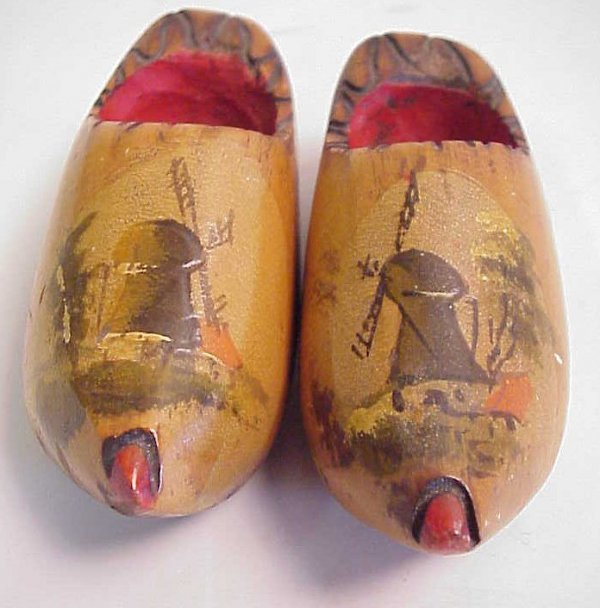 1001: Pair of miniature wooden Dutch baby shoes with  h