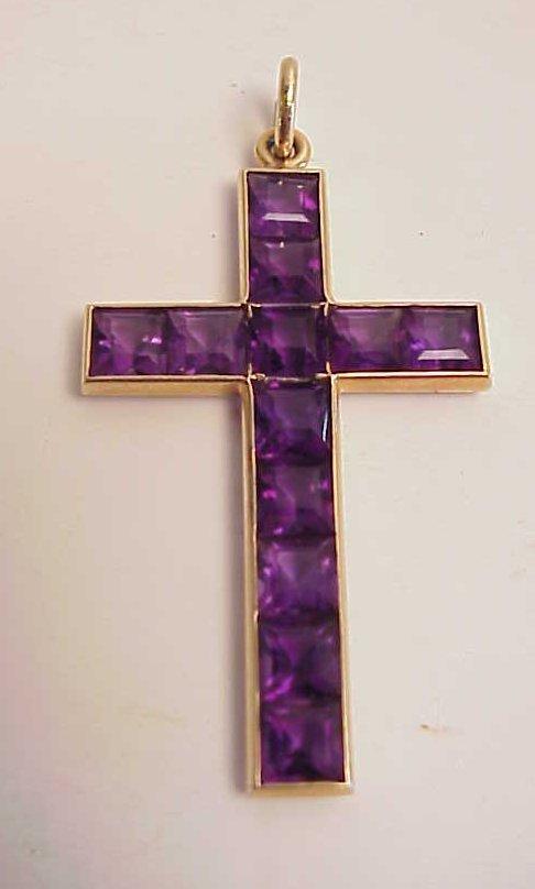 "1019: 14k gold and amethyst cross pendant, 2 1/4"" x 1"