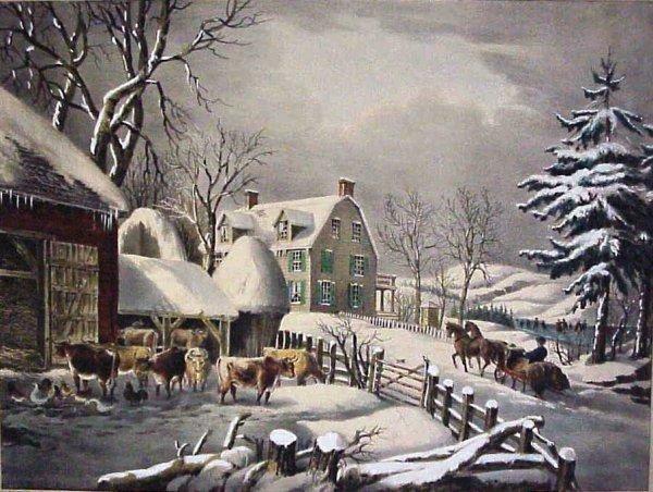 1024: Currier & Ives Winter Morning, Medium Folio hand
