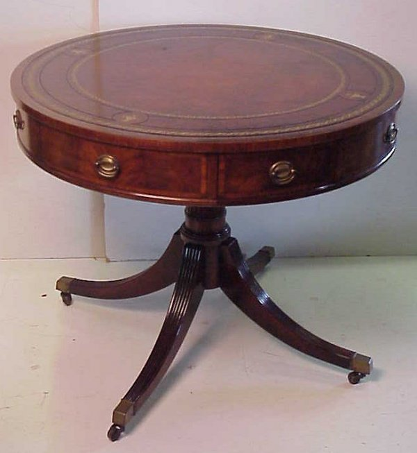 """Duncan Storage Coffee Table: 1219: Duncan Phyfe Style Drum Table, Leather Top, 36"""""""