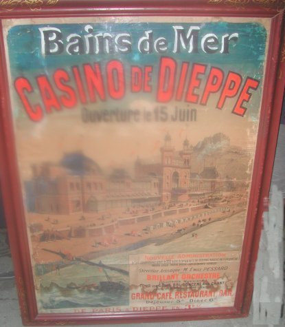 1011: French hand painted travel poster Casino Dieppe,