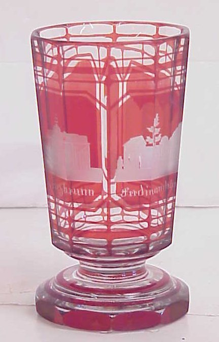 1025A: Bohemian glass tumbler with German architectural