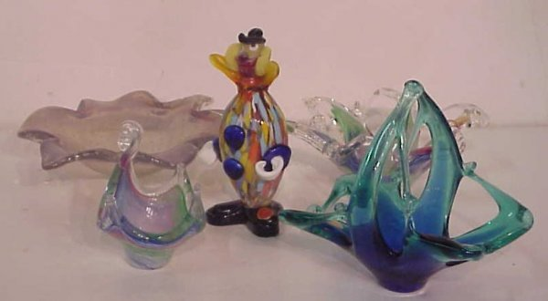 "1004: 5 pieces of Murano glass - clown figure 7"", 3  bo"