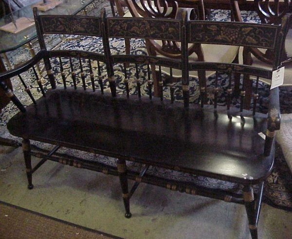 1007A: Hitchcock style black and gold painted settee