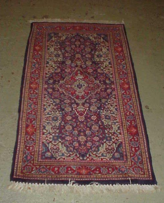 """1010: Kerman scatter rug 26"""" x 51"""", mid 20thc, handmade"""