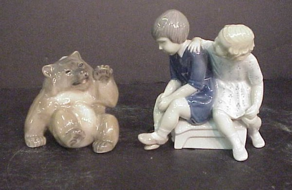 """1012: B&G boy and girl figural group 5 1/4"""" and B&G bea"""