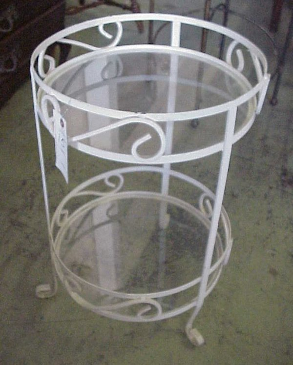 1015: Painted iron and glass two tier table