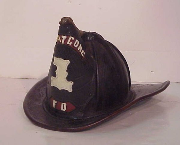 1015A: Vintage fire hat, Lake Hopatcong, N.J. leather