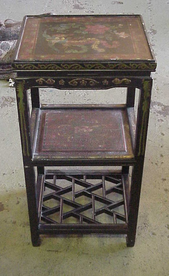 """1025: Decorative 3 tier painted stand, 32""""h, 16"""" x 14"""""""