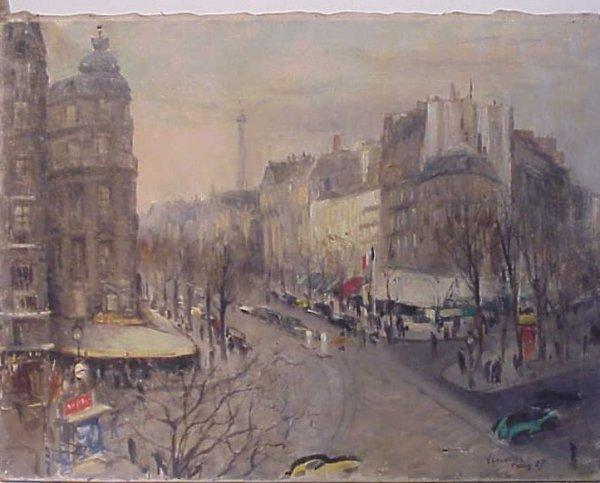 2061: Vincenzo Colucci (1898-1968, NY) Paris street  sc