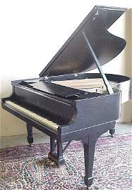 2100: Steinway M baby grand ebonized piano and bench  #