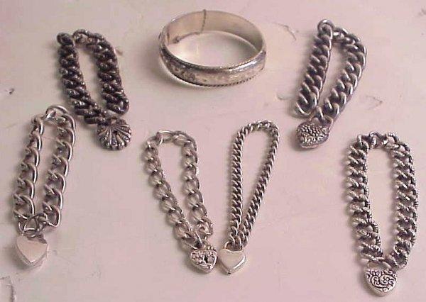 2021: Lot of sterling silver bracelets includes 3  Vict
