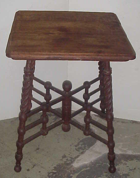 2018: Victorian oak stick and ball lamp table, twist  l