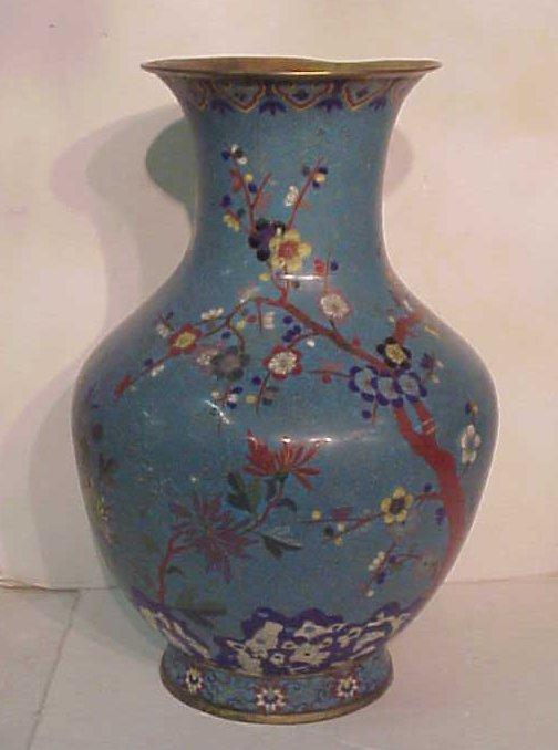 "2143: Chinese cloisonne palace vase, 26 1/2""h x 17""w,"