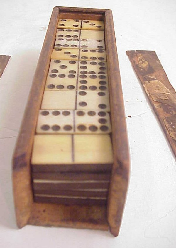 2008A: Set of old wood and bone or ivory dominos, some
