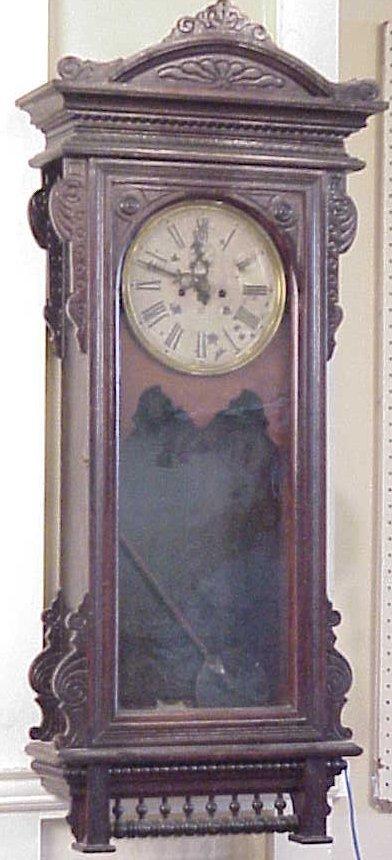"82: 19th C Waterbury regulator wall clock, 45""h, 17  1/"
